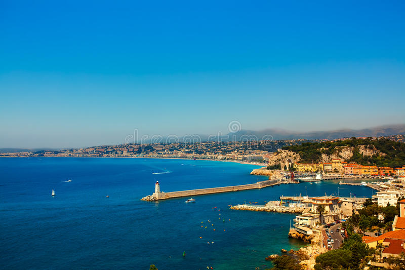 Nice harbour. Beautiful skyline of nice cote d'azur on the french riviera france stock photography