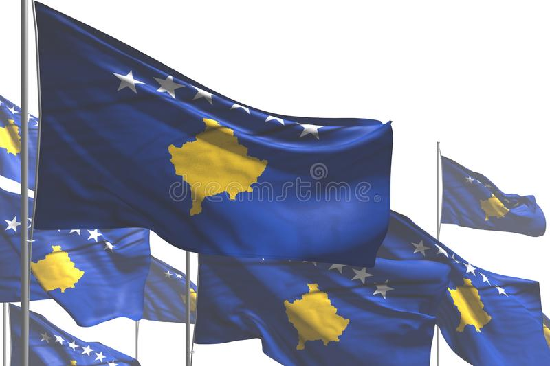 Pretty many Kosovo flags are wave isolated on white - any holiday flag 3d illustration stock illustration