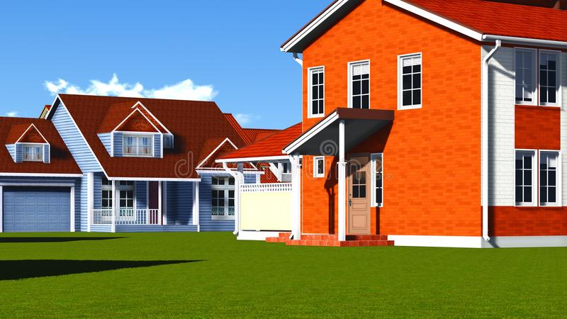Download Nice Homes in Neighborhood stock illustration. Illustration of building - 36037834