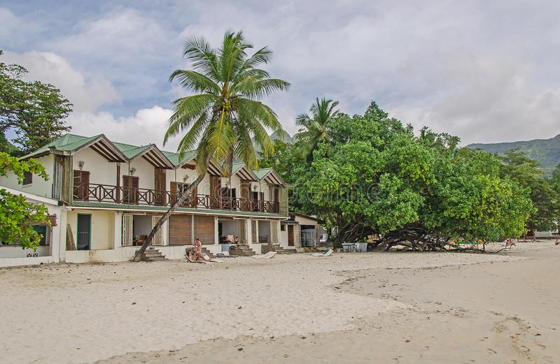 Nice hotel on the beach with white sand and a lot of greenery stock photos