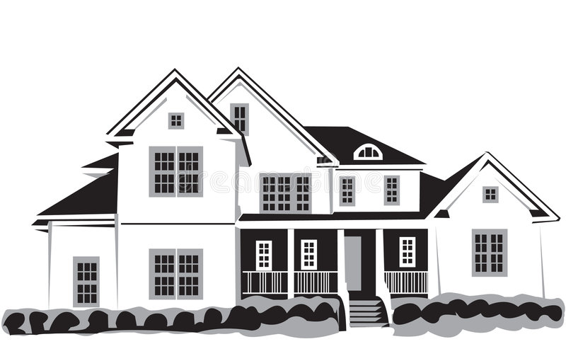 Nice house. Black&white Vector Illustration of nice house isolated on white background