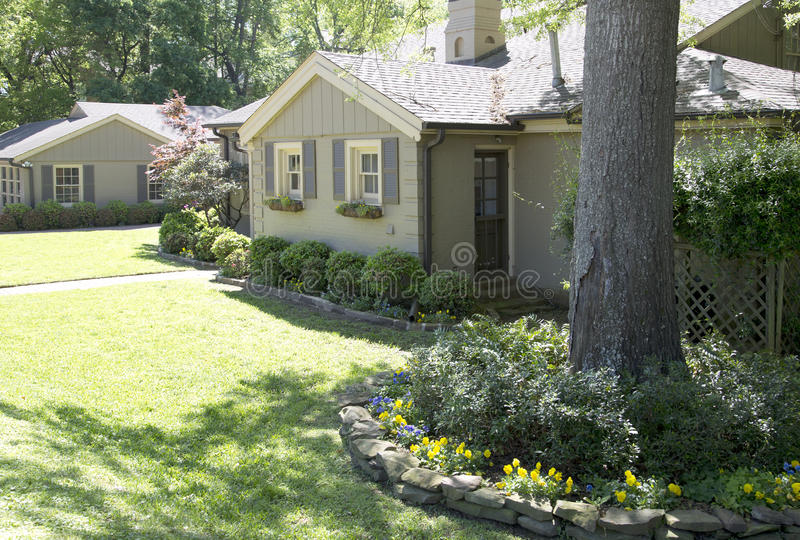 Nice house with garden in suburban royalty free stock image