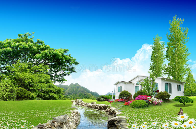 Nice House On Green Field Stock Photography