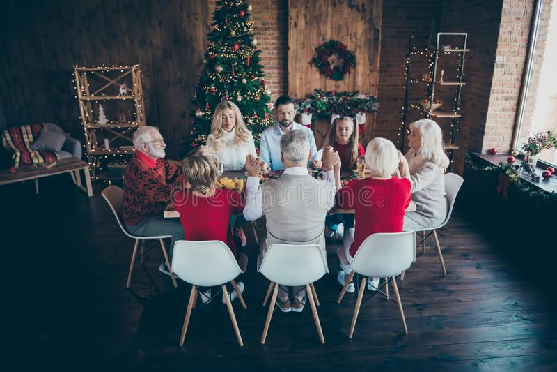 Nice idyllic peaceful calm big full family spending December newyear gathering generation eating homemade lunch holding. Nice idyllic peaceful calm big full royalty free stock photos