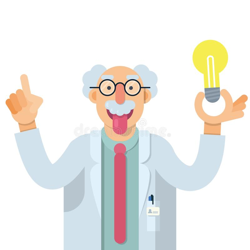 Nice illustration of inventor scientist. Cute vector illustration of scientist inventor in flat style design stock illustration