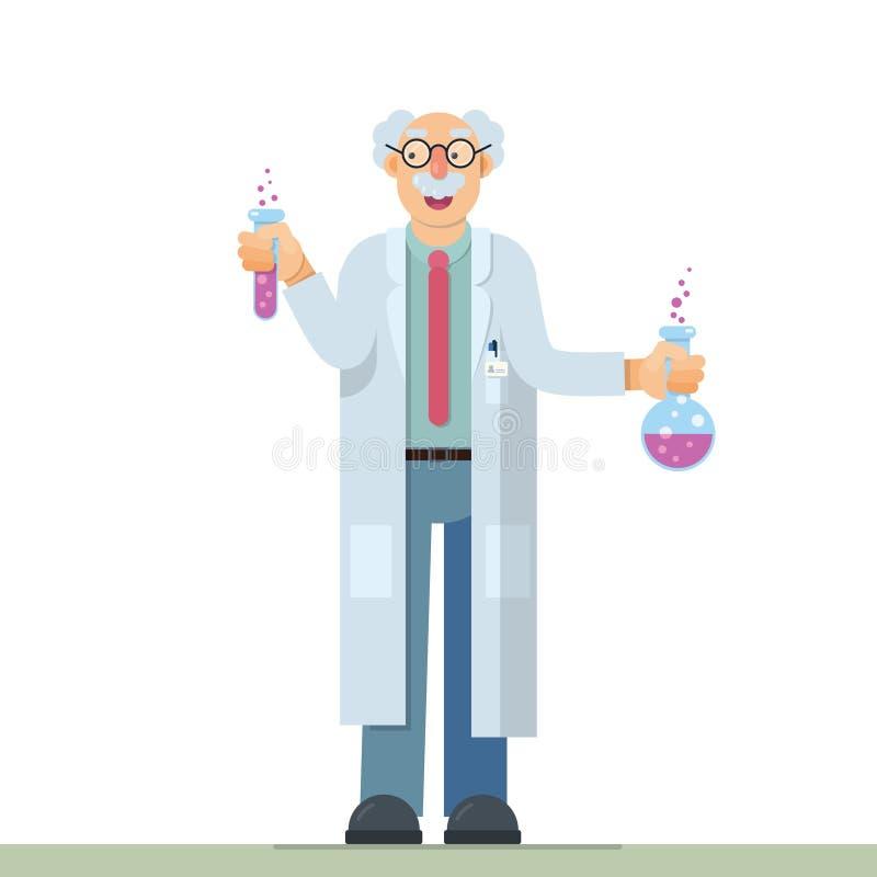 Nice illustration of inventor scientist. Cute vector illustration of scientist inventor in flat style design royalty free illustration