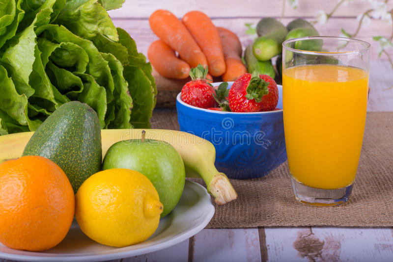 Nice image of a fruit and vegetable based juice. royalty free stock images