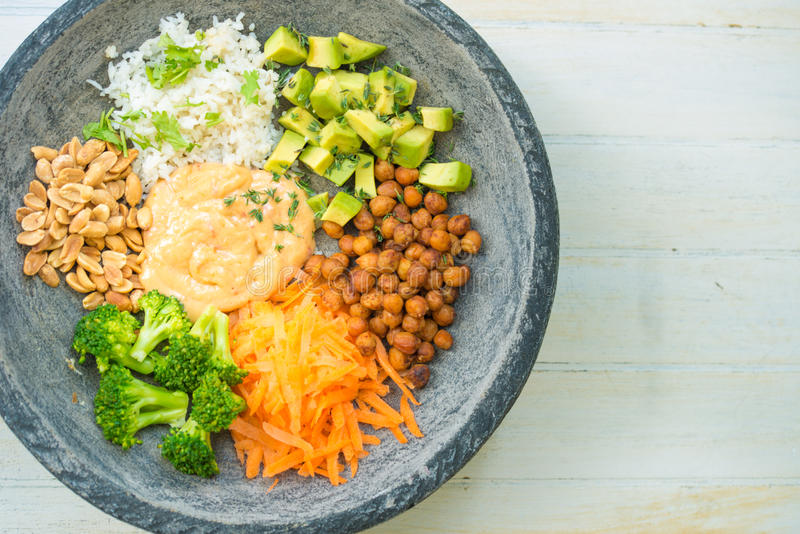 Nice image of a salad in a buddha bowl. stock image