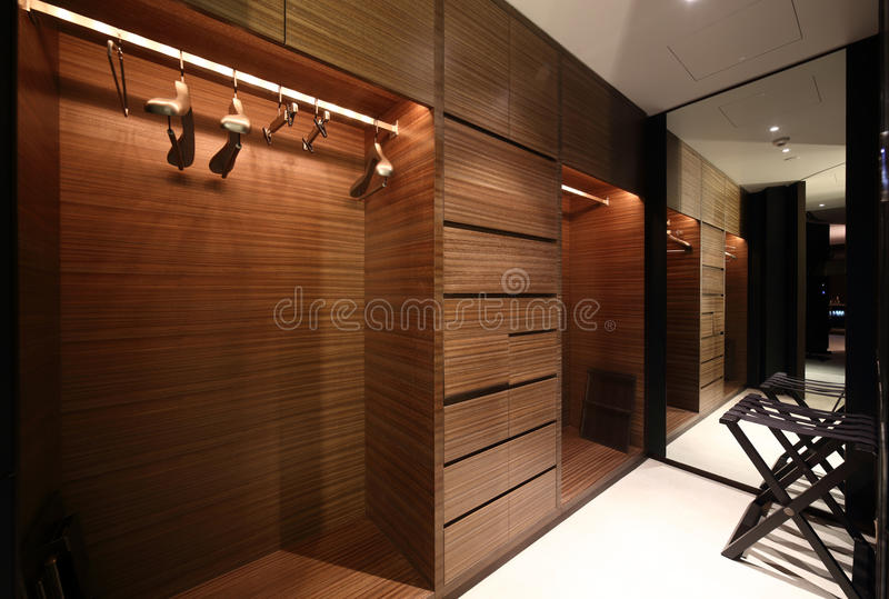 Nice interior of bright cloakroom royalty free stock photo