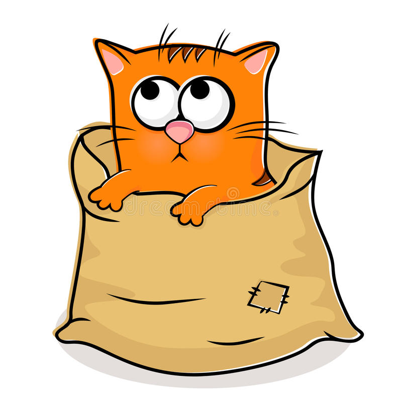 Download Nice kitten  in linen bag stock vector. Image of homeless - 20200122