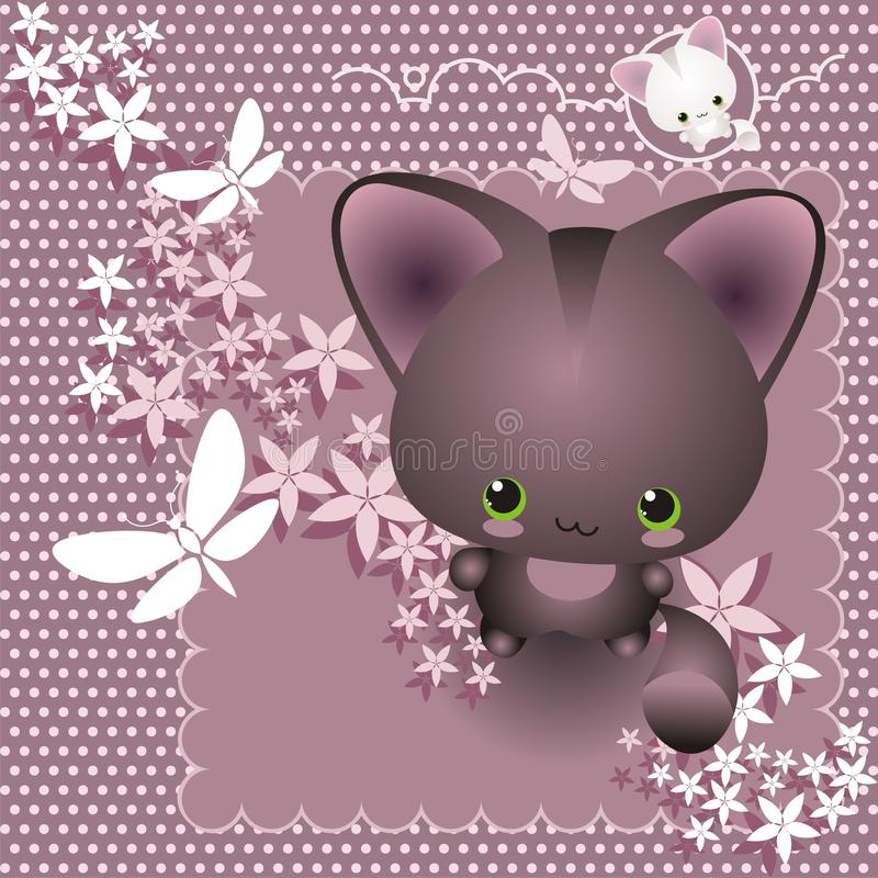 Nice kitty. Vector background with cute kitty, flowers and butterflies vector illustration
