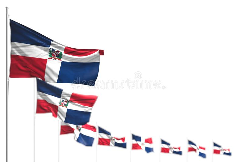 Nice labor day flag 3d illustration - Dominican Republic isolated flags placed diagonal, image with selective focus and space for. Beautiful Dominican Republic royalty free illustration