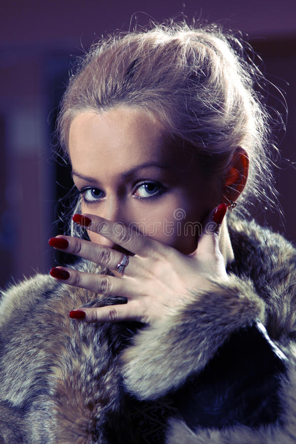 Nice Lady In A Fur Coat Stock Image