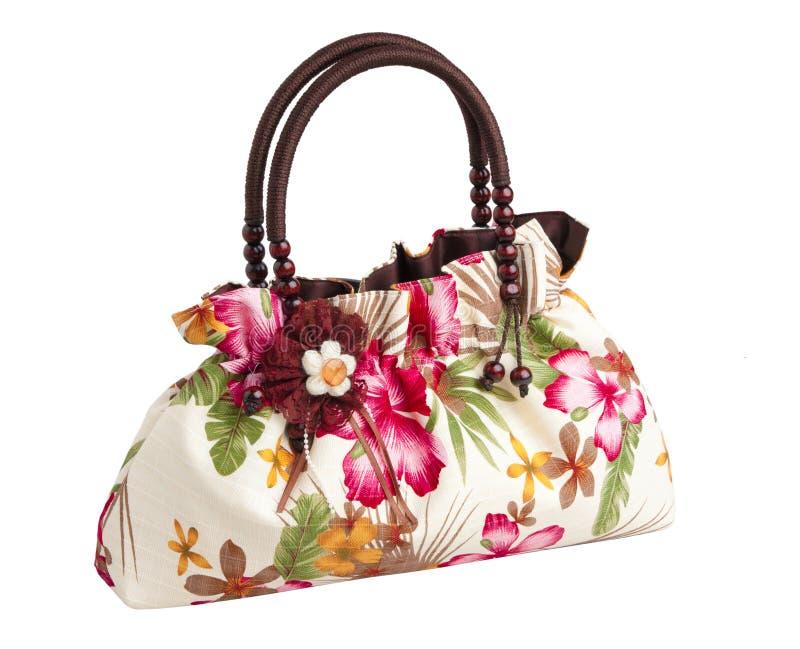 Nice lady flower pattern handbag isolated
