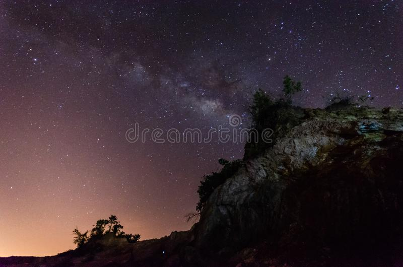 Nice landscape at night with the milkyway.(Presence of noise, grain and soft focus is due to high ISO). stock photo