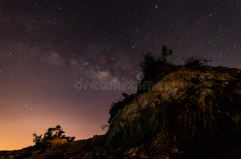 Nice landscape at night with the milkyway.(Presence of noise, grain and soft focus is due to high ISO). stock photos