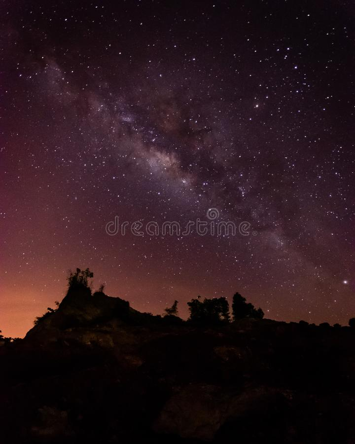 Nice landscape at night with the milkyway.(Presence of noise, grain and soft focus is due to high ISO). royalty free stock images