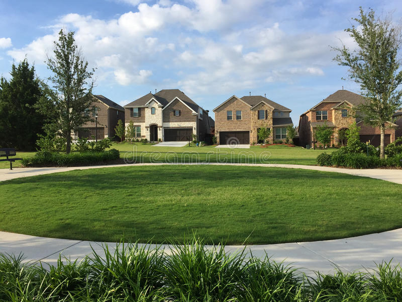 Nice landscapes and houses design in community royalty free stock photos