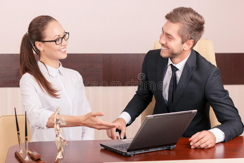 Nice Lawyer Talking With Colleague Stock Image Image Of Hands