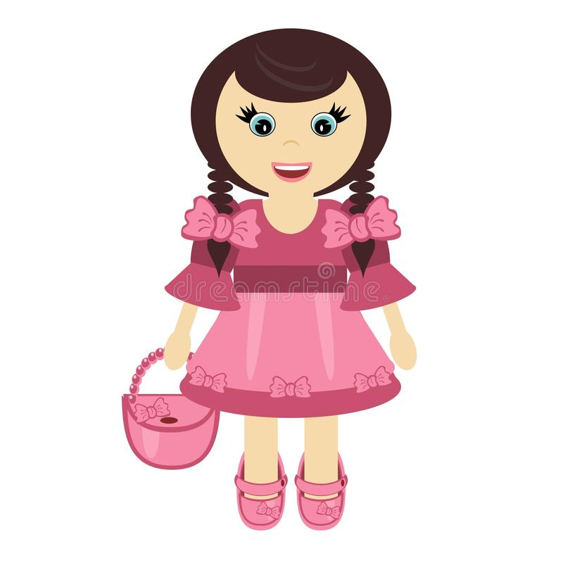 Download Nice little girl with bag stock illustration. Image of color - 21858760