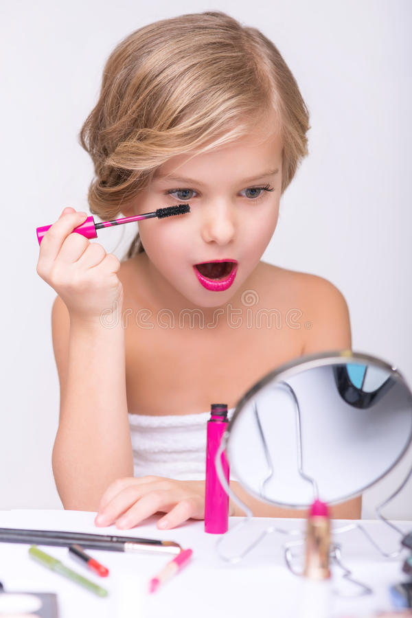 Nice Little Girl Doing Make Up Stock Photo Image Of