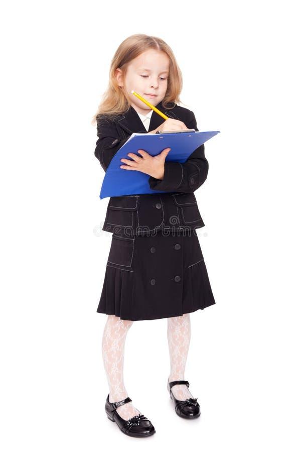 Nice Little Girl In A School Uniform Royalty Free Stock Photos