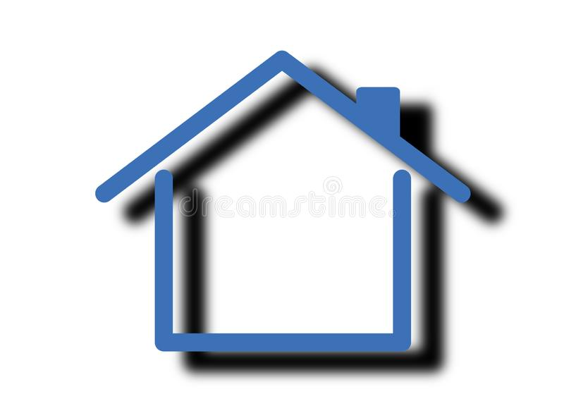 Flat blue home logo with shadow isolated on a white background stock images
