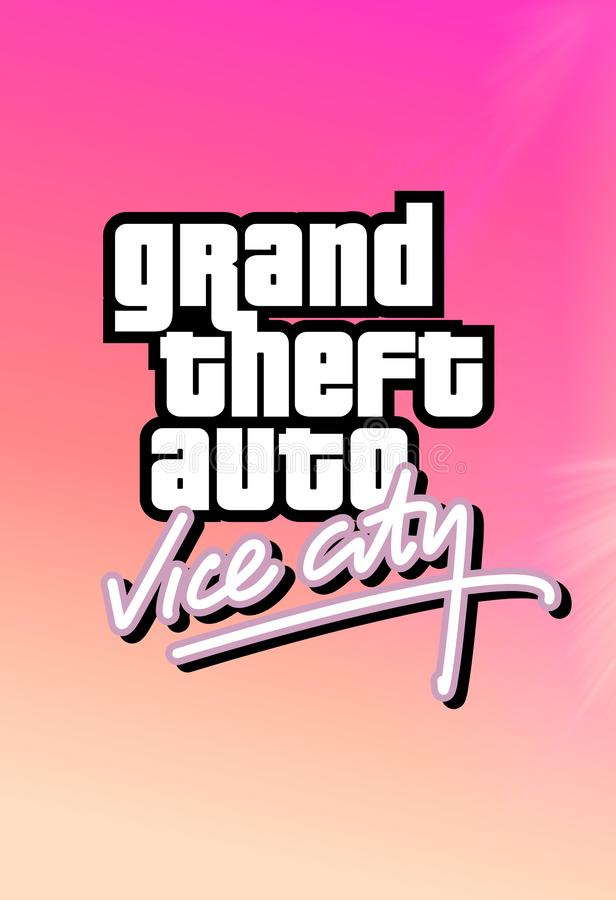 Rockstar Games Grand Theft Auto Vice City logo on a colorful background royalty free illustration