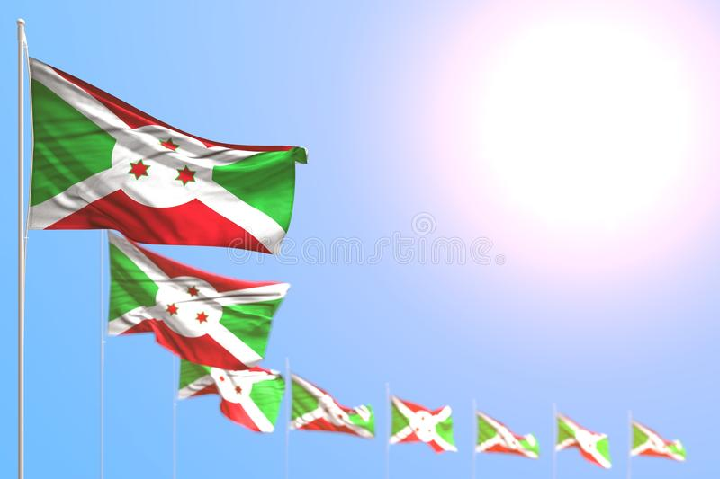 Pretty holiday flag 3d illustration - many Burundi flags placed diagonal with selective focus and free space for your text. Nice many Burundi flags placed royalty free illustration