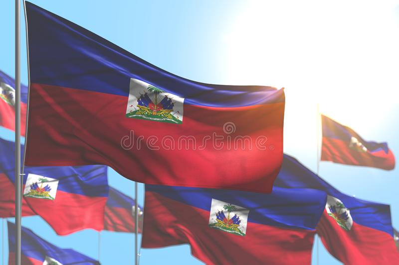 Nice many Haiti flags are waving against blue sky image with selective focus - any celebration flag 3d illustration. Beautiful any celebration flag 3d vector illustration