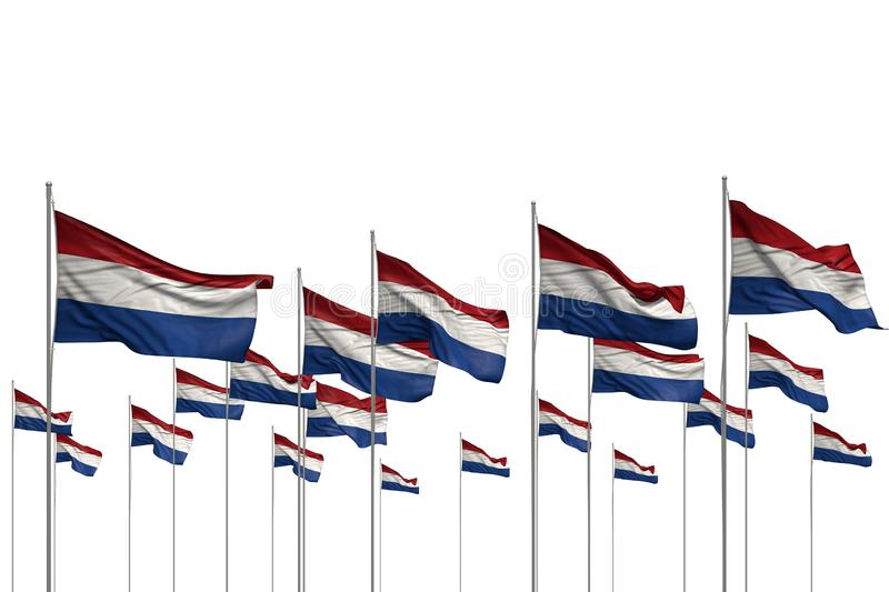 Nice many Netherlands flags in a row isolated on white with free place for your text - any celebration flag 3d illustration. Nice feast flag 3d illustration royalty free illustration