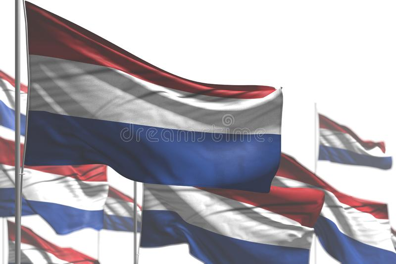 Nice many Netherlands flags are wave isolated on white - picture with soft focus - any occasion flag 3d illustration. Pretty feast flag 3d illustration stock illustration