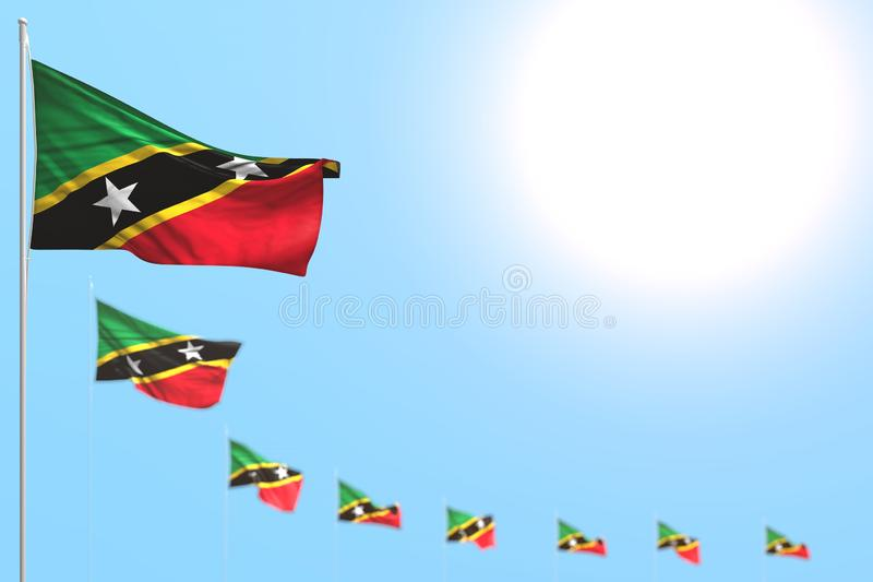 Nice many Saint Kitts and Nevis flags placed diagonal with selective focus and empty place for your content - any holiday flag 3d. Pretty labor day flag 3d royalty free illustration