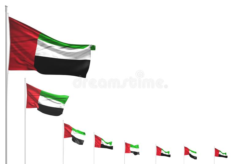 Wonderful national holiday flag 3d illustration - many United Arab Emirates flags placed diagonal isolated on white with space stock illustration