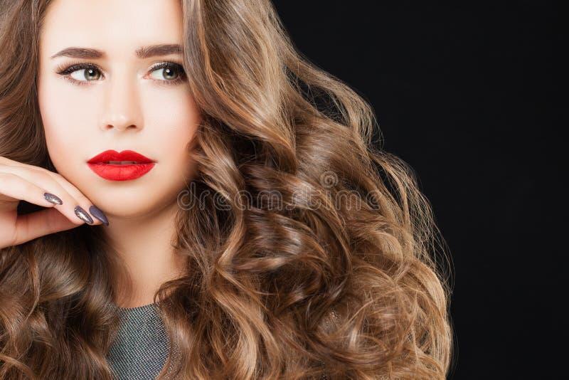 Nice Model Woman with Long Wavy Hair, Perfect Makeup royalty free stock photos