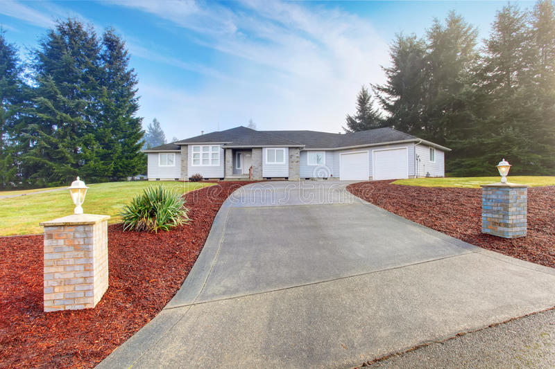 Nice modern house with driveway. stock image