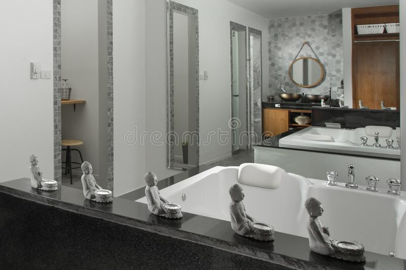 Nice modern style grey color bathroom interior. View of nice modern style grey  color bathroom  interior stock images