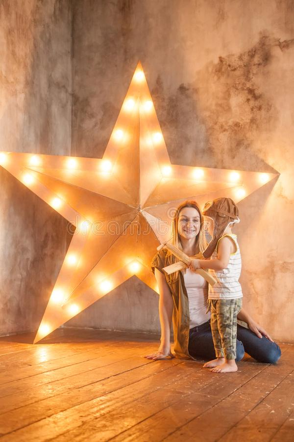 Nice Mom and her Small Child Playing stock image