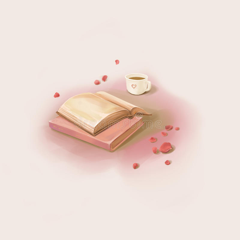 A Nice Moment: Reading Book and Drinking Coffee stock illustration
