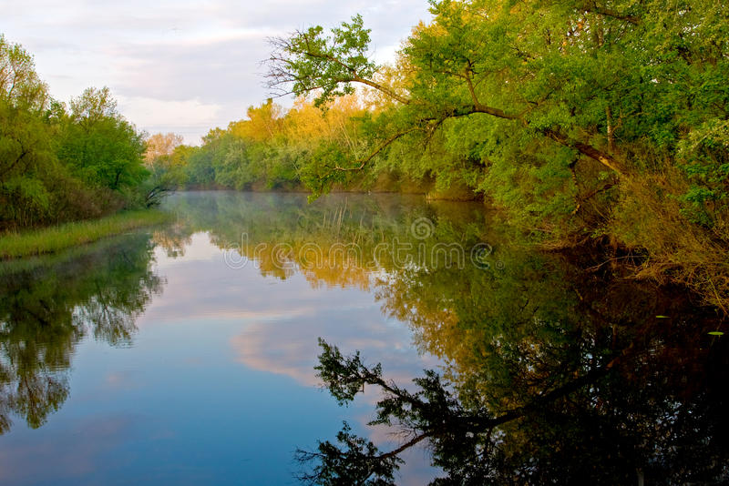 Nice morning on river. Nice morning landscape on river royalty free stock photography