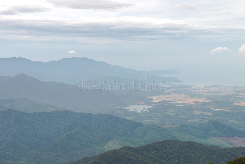 Nice mountain landscape sunset view from Ba Na Hill, Da Nang Vietnam Feb 2017 royalty free stock image