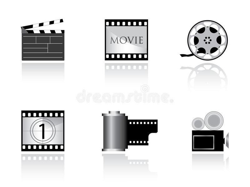 Download Nice movie icons stock vector. Image of production, clapboard - 4424842