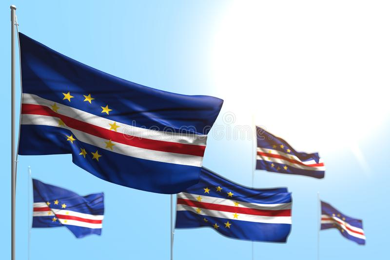 Wonderful 5 flags of Cabo Verde are wave against blue sky image with selective focus - any occasion flag 3d illustration stock image