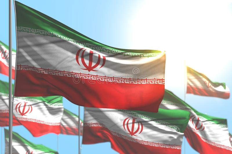 Nice national holiday flag 3d illustration - many Iran flags are wave against blue sky image with bokeh royalty free illustration