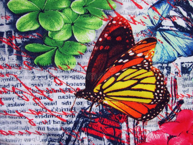 Beautiful cotton fabric with painted butterfly royalty free stock images