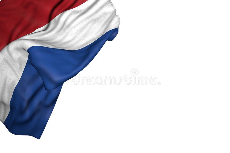 Nice Netherlands flag with big folds lay in top left corner isolated on white - any celebration flag 3d illustration. Cute celebration flag 3d illustration royalty free illustration