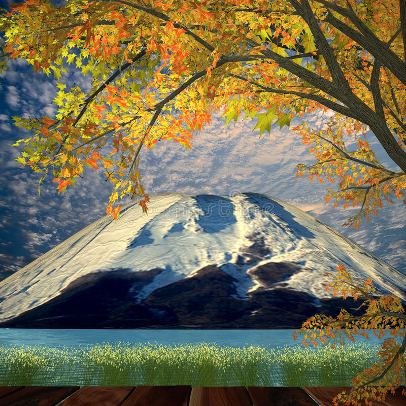 Download Nice Night View With Beautiful Mountain And Maple Stock Illustration - Image: 27768579