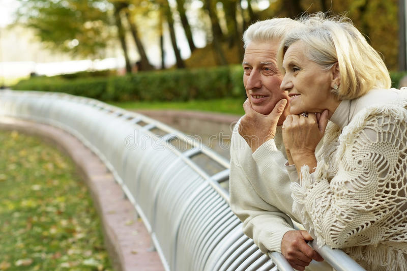 Nice old couple standing royalty free stock images