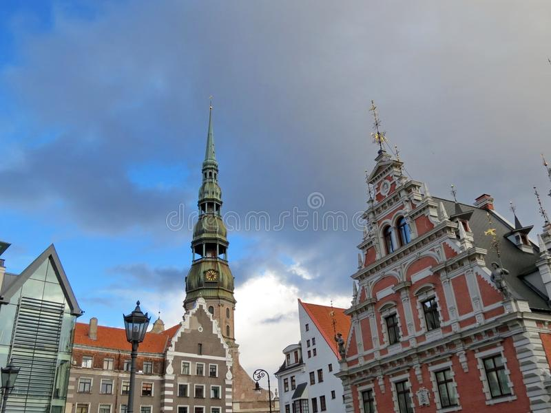 Old beautiful historical buildings in Riga, Latvia. Nice old historical buildings in Riga town, can use as background royalty free stock image