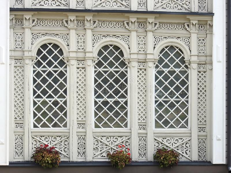 Beautiful white old home wall, Lithuania stock images